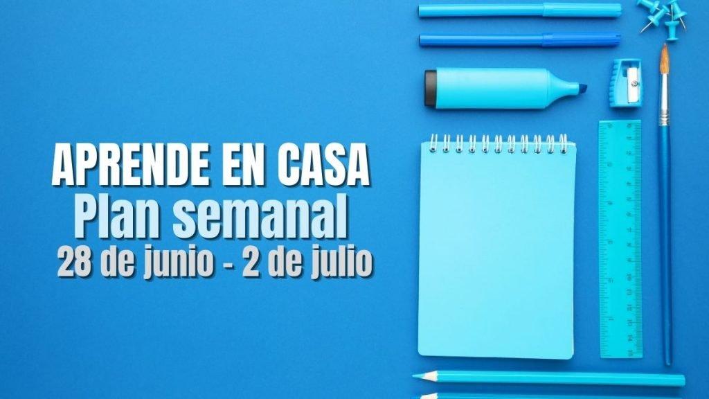 Aprende en Casa: Plan de trabajo semana 40 del 28 de junio al 2 de julio