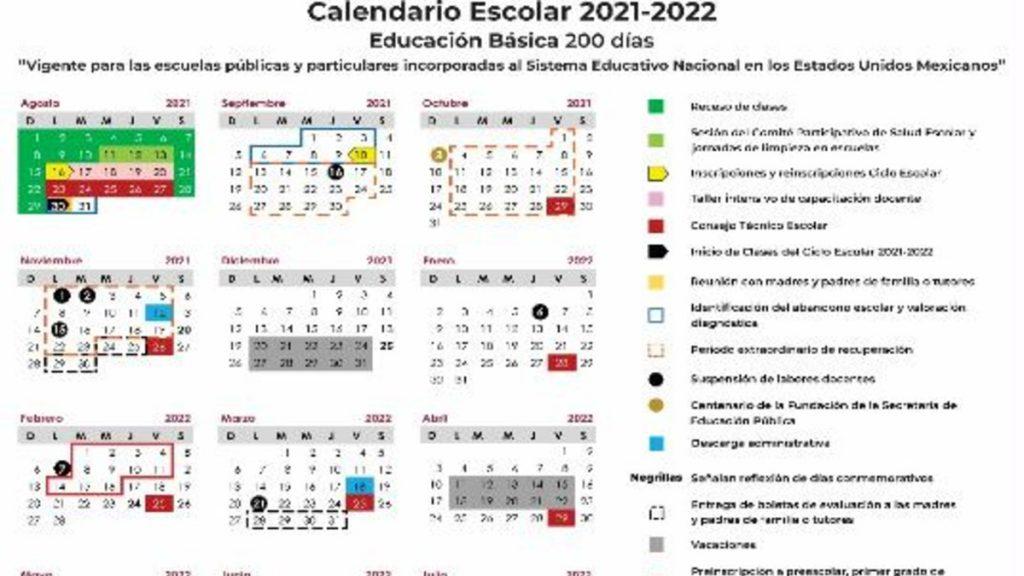 Calendario escolar 2021-2022 de la SEP. Fechas clave del próximo ciclo escolar Foto: Especial