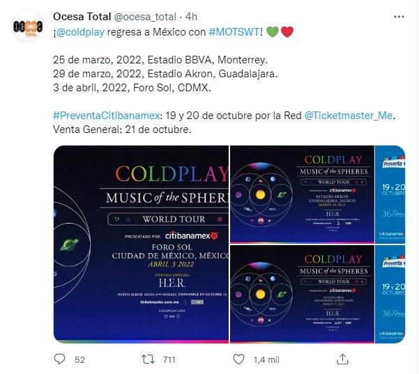 Venta de boletos para ver a Coldplay